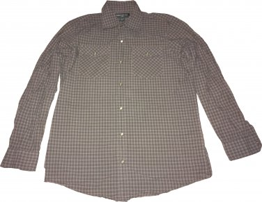 Banana Republic Long Sleeve Snap Up Casual Collar Coffee Brown Plaid Size M