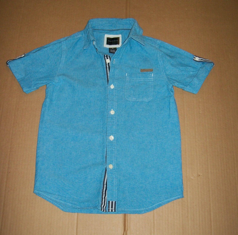 Sean John Short Sleeve Button Up / Down Denim Polo Sky Blue Kid's Size Medium