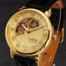 """Men""""s Gold Mechanical Winner  Skeleton Wrist Watch with Black Leather Band"""