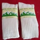 2 Pair Large Maine 95% Merino Wool Ragg Crew Sock 9-12 Made in USA White