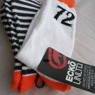 2 Pair Ecko Unlimited Men Crew Socks Large Orange Black White 72  6 1/2-12