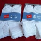 10 Pack Hanes Cuff Crew Value Pack Socks White Great Quality!! Medium 5-9