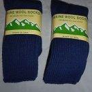 2 Pair Large Maine 95% Merino Wool Ragg Crew Sock 9-12 Made in USA Navy