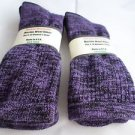 2 Pair Pocono 82% Merino Wool Hiker Women Socks USA Shoe 5-10 Black Purple