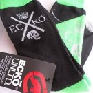 2 Pair Ecko Unlimited Men Crew Socks Large Neon Green Black Rhino Skull6 1/2-12