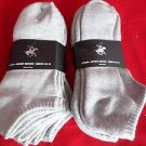6 Pair Large Beverly Hills Polo Club Cushioned No Show Men Socks Grey 10-13