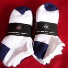 6 Pair Large Beverly Hills Polo Club Cushioned No Show Men Socks Navy Whit 10-13