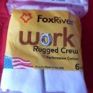 6 Pair Value Pack Fox River Cotton Cushion Crew Socks 9-12 Made USA White