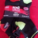 6 Pair Ecko Unlimited Boys Quarter High Socks Soft  Durable Black Neon 3-9