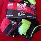 6 Pair Ecko Unlimited Boys No Show Boat Socks Soft  Durable Black Heel 9-2 1/2