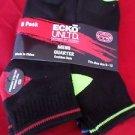 6 Pair Ecko Unlimited Mens Quarter Socks Soft and Durable Black Heel Toe 6-12