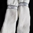 2 Pair Mens Over the Calf Diabetic Sock 100% Cotton 8-12 White Made in USA White