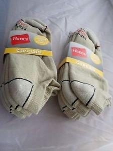 6 Pair Hanes Large No Show Casual Socks Cushion All Day Comfort  Khaki 6-12