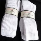 6 Pair of  Pocono Relaxed Fit Cotton Cushion Crew Socks 9-12 Made USA White/Gr