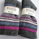 2 Pair Pocono 82%  Merino Wool Hiker Women Socks USA Shoe 5-10 Stripes
