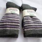 2 Pair Pocono 82%  Merino Wool Hiker Women Socks USA Shoe 5-10 Grey Strip