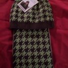 East Side Collection Oxford Houndstooth Hat and Scarf Owner Set Brown Green