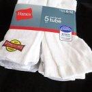 "5 Pair Hanes 18"" Over the Calf Tube Socks 6-12"