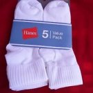 5 Pack Hanes Cuff Crew Value Pack Socks White Great Quality!! Large 8-12