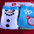 6 Pair Hanes Gripper Toddler Socks Snowman Snowflake Red Green 4T-5T