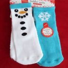 6 Pair Hanes Gripper Toddler Socks Snowman Snowflake Red Green 2T-3T