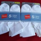 10 Pair Hanes Cuff Crew Value Pack Socks White Great Quality!! Large 8-12