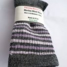 1 Pair Pocono 82%  Merino Wool Hiker Women Socks USA Shoe 5-10 Grey Strip
