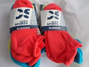 6 Pair City Sport Running No Show Socks Tab Back Heel Guard  6-12 Bright Neon