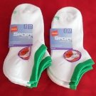 6 Pair Hanes Sport Breathable Low Cut Mesh Socks White/Green Great Quality 5-9