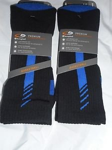 2 Pair Champion Correct Fit  Basketball Crew Socks Arch Support Black Blue 6-12