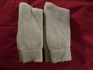 2 Pair US Army 85 % Cotton Thermal Mid Calf  Boot Sock Large 9-13 USA Khaki