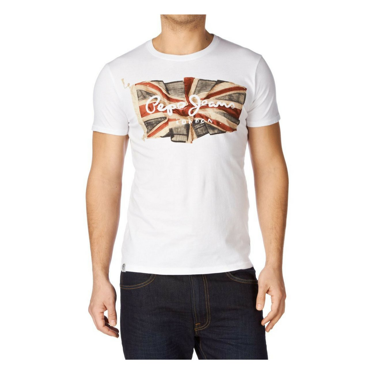 Pepe Jeans Flag Logo Men's T-Shirt, White, Medium