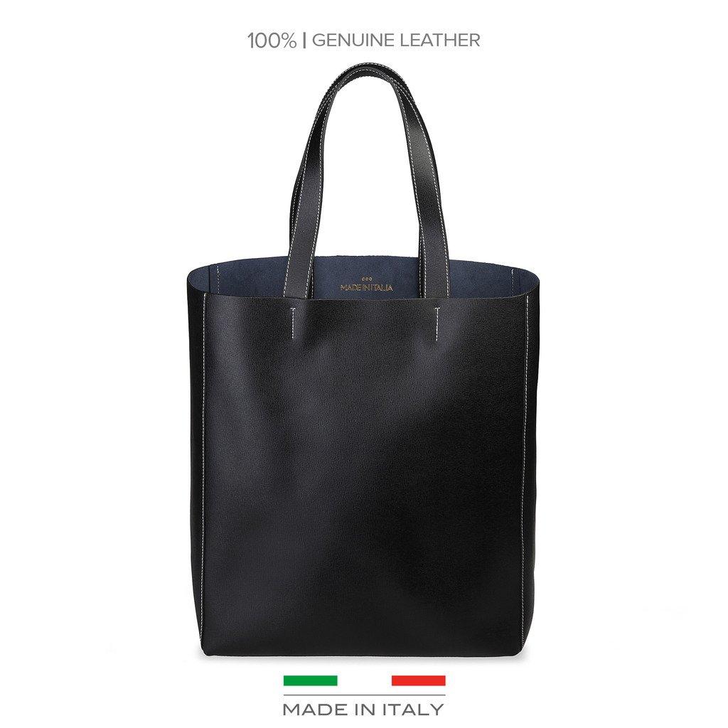 Made in Italia Amanda Saffiano Leather Tote, Black
