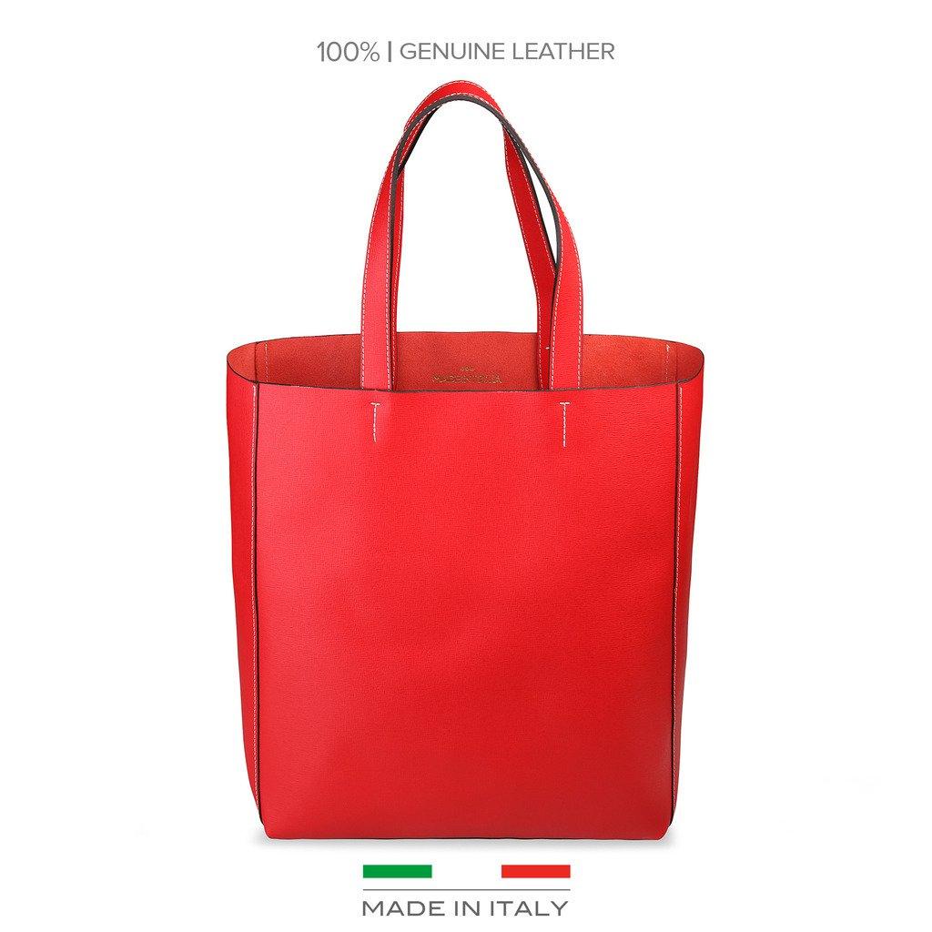 Made in Italia Amanda Saffiano Leather Tote, Red