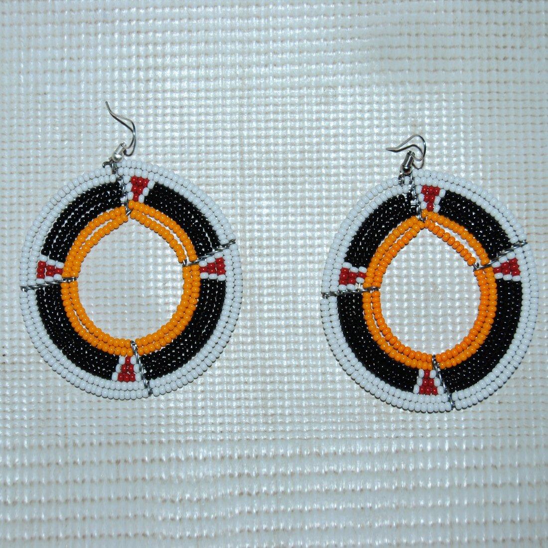 white and black handmade beaded maasai earring