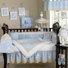 blue dragonfly new born baby bedding set, 10pcs, crib linen, cot set