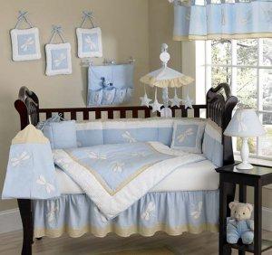 blue dragonfly new born baby bedding set, 10pcs, crib linen, cot set