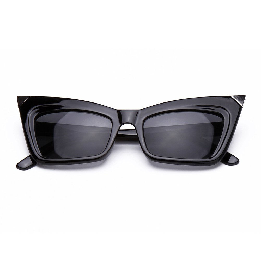 DESIGNER INSPIRED WOMEN'S CAT'S EYE SUNGLASSES BLACK FRAME with SILVER TIPS