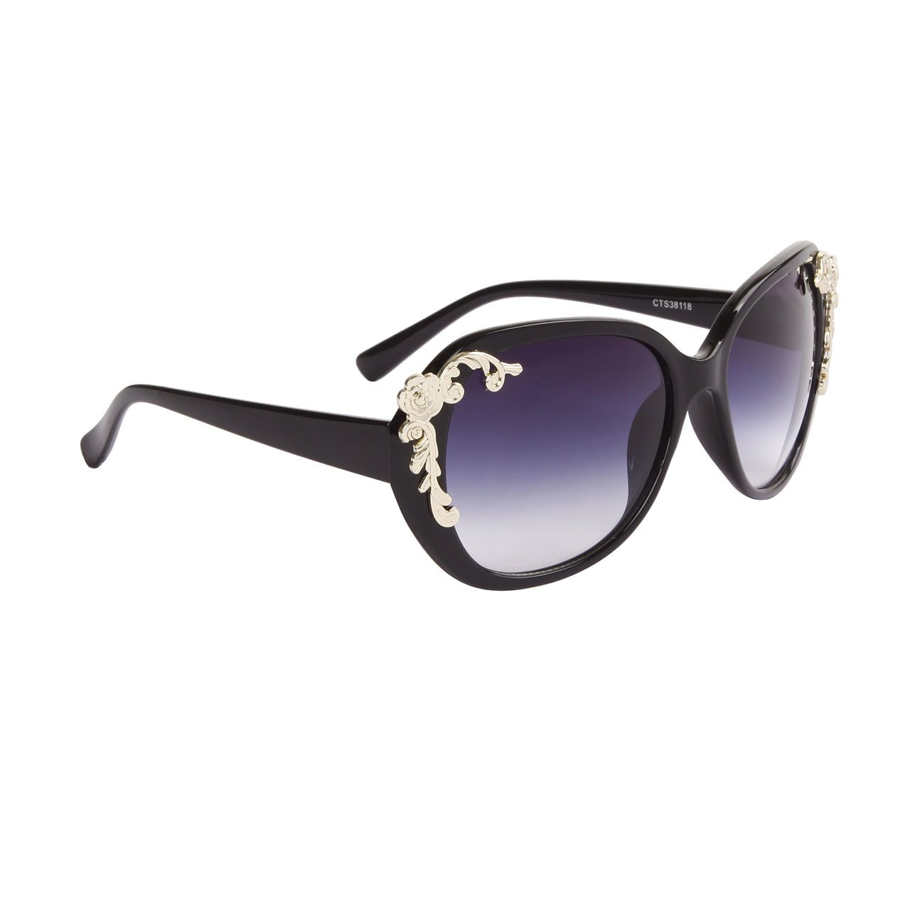 DESIGNER INSPIRED WOMEN'S SUNGLASSES BLACK FRAME CELEBRITY SPOTTED EYE WEAR WITH GOLD FLOWERS