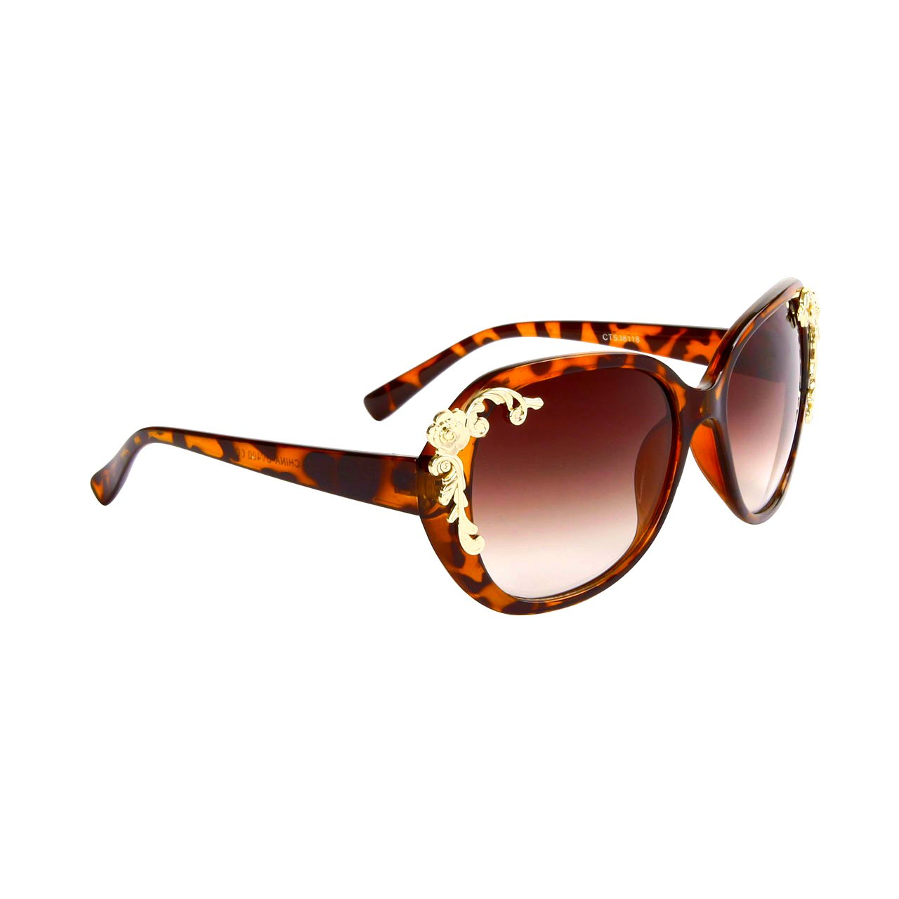DESIGNER INSPIRED WOMEN'S SUNGLASSES TORTOISE FRAME CELEBRITY SPOTTED EYE WEAR WITH GOLD FLOWERS
