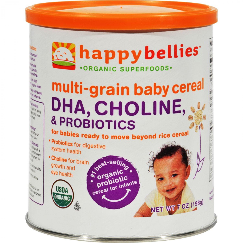 Happy Baby Happy Bellies DHA Pre and Probiotics Plus Choline Organic MultiGrain Cereal - Case of 6 -