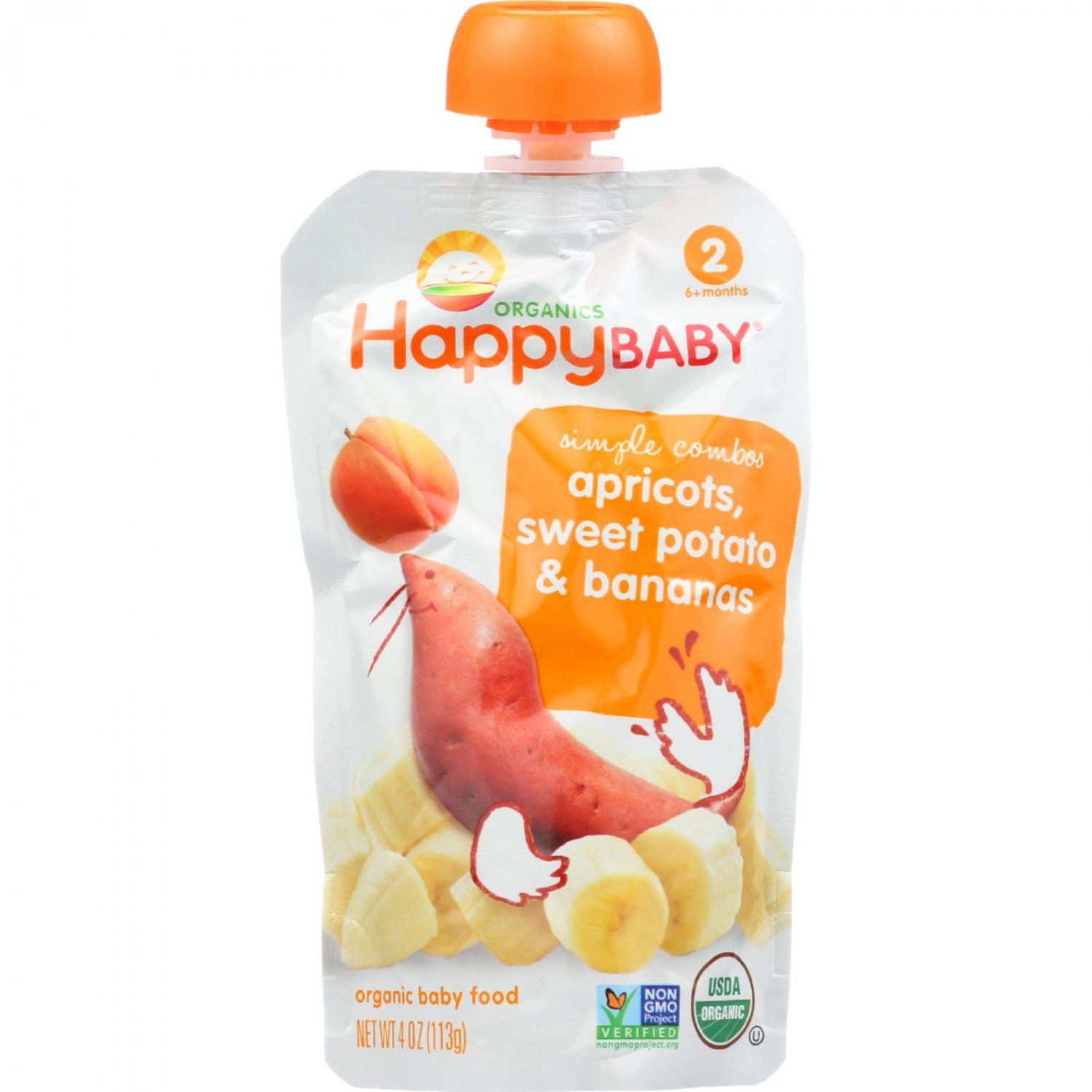 Happy Baby Baby Food - Organic - Simple Combos - Stage 2 - Apricots Sweet Potato and Bananas - 3.5 o