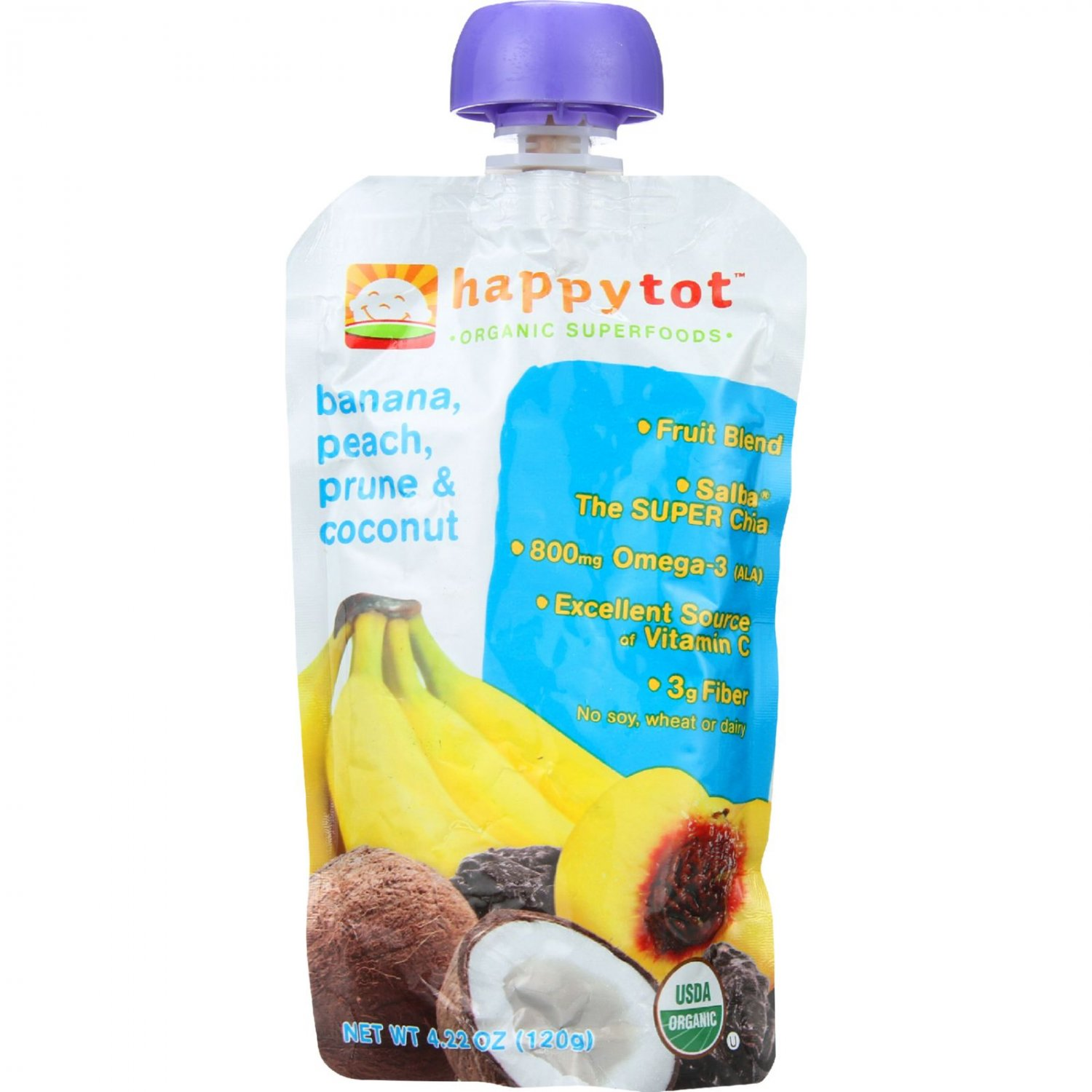 Happy Tot Toddler Food - Organic - Stage 4 - Banana Peach Prune and Coconut - 4.22 oz - case of 16
