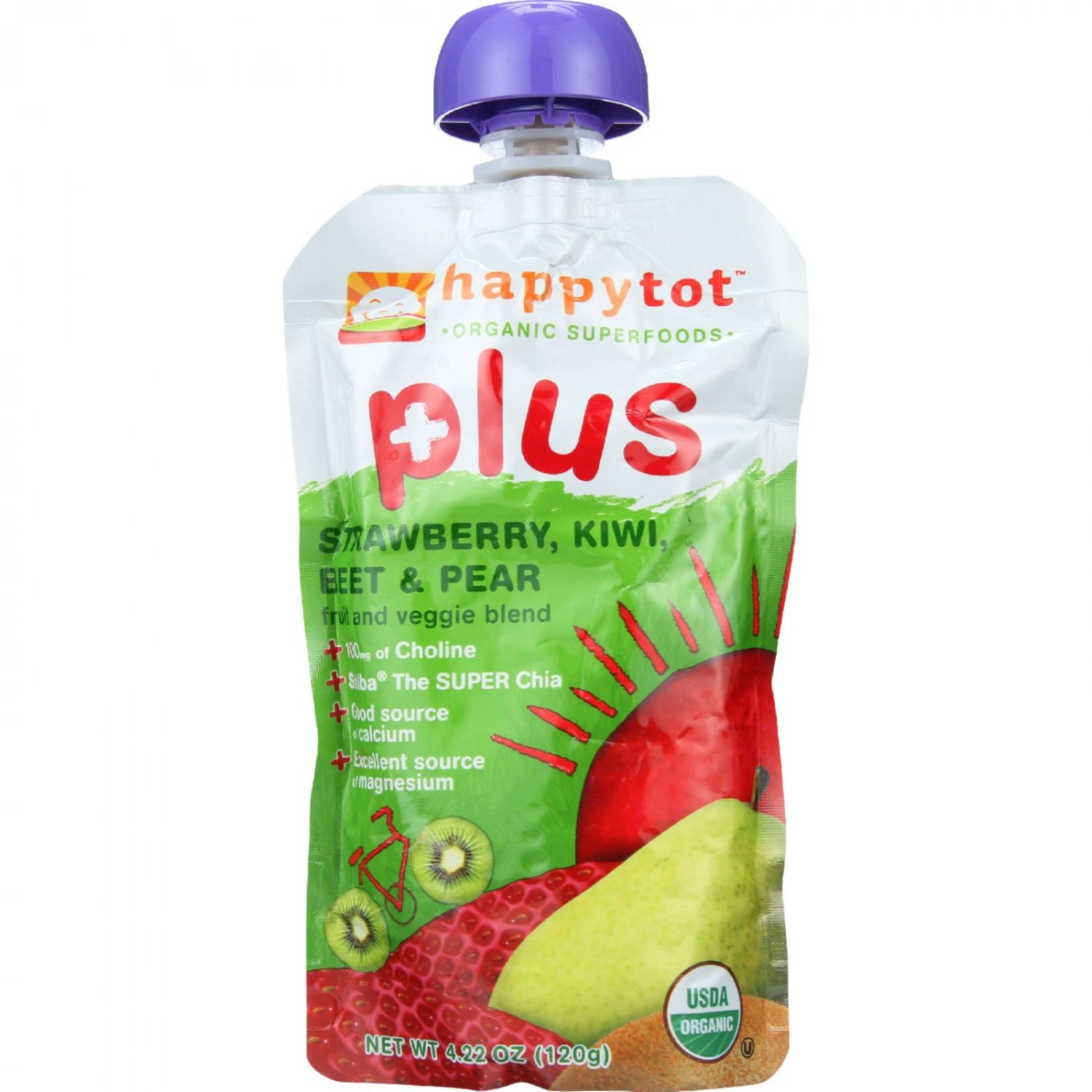 Happy Tot Toddler Food - Organic - Plus - Fruit and Veggie Blend - Strawberry Kiwi Beet and Pear - 4