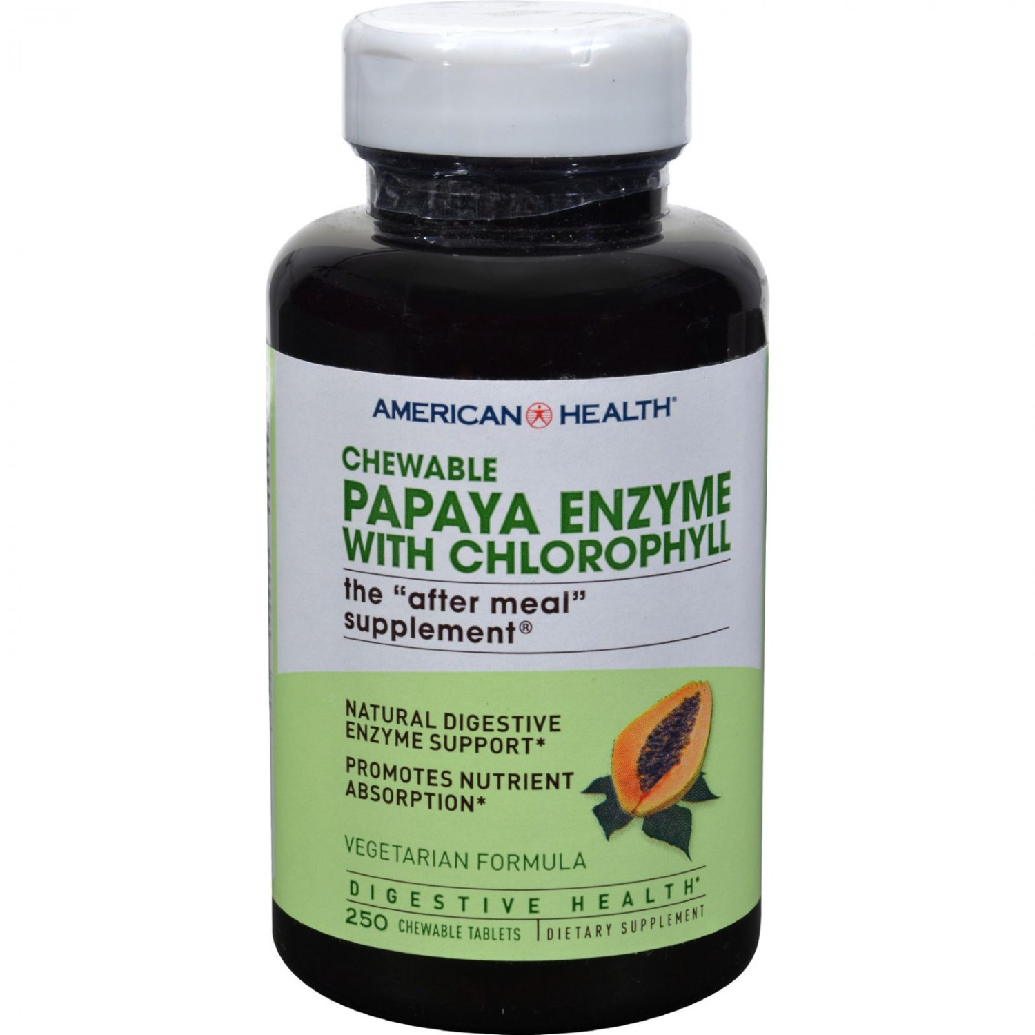 American Health Papaya Enzyme with Chlorophyll Chewable - 250 Tablets