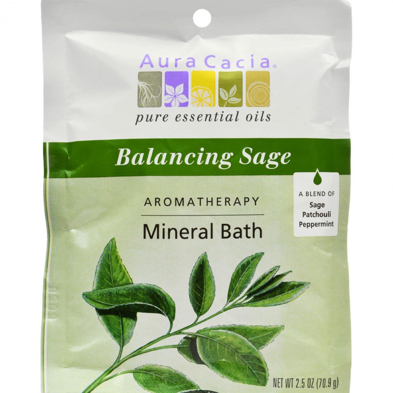 Aura Cacia Aromatherapy Mineral Bath Balancing Sage - 2.5 oz - Case of 6