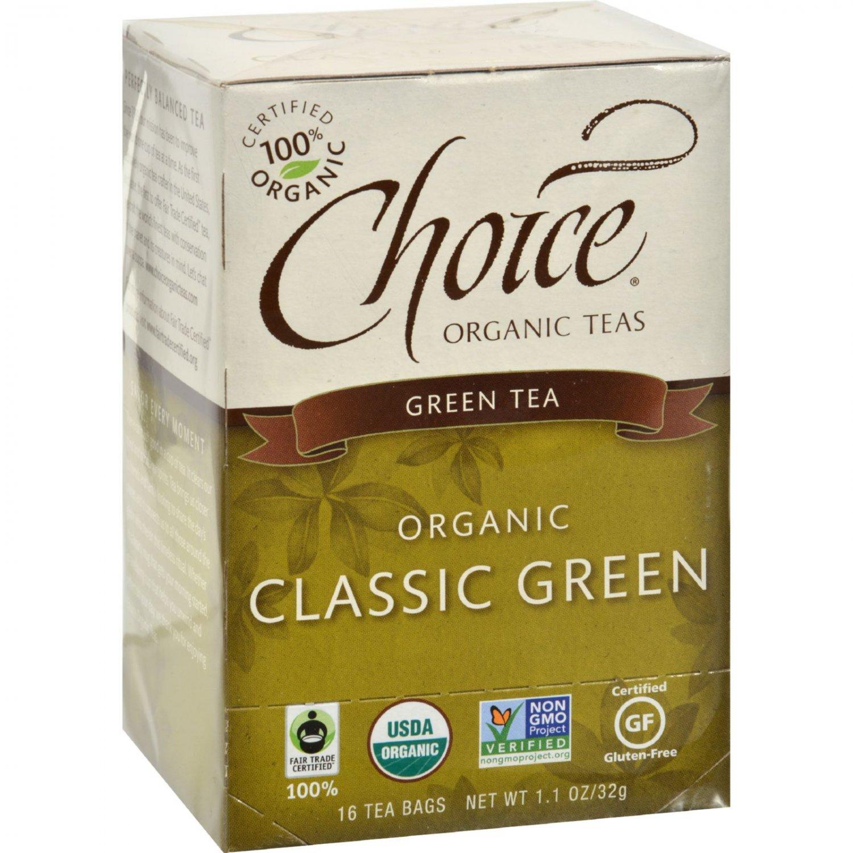 Choice Organic Teas Classic Blend Green Tea - 16 Tea Bags - Case of 6