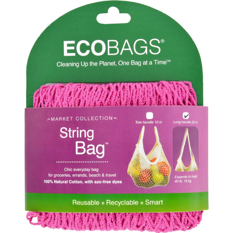 ECOBAGS Market Collection String Bags Long Handle - Fuchsia - 1 Bag