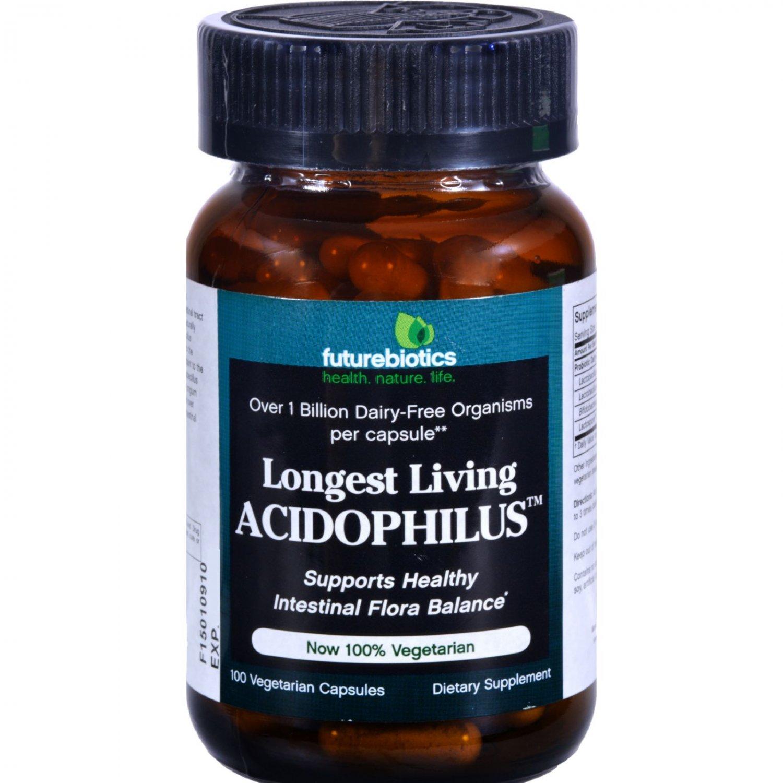 FutureBiotics Longest Living Acidophilus - 1 billion CFUs - 100 Vegetarian Capsules