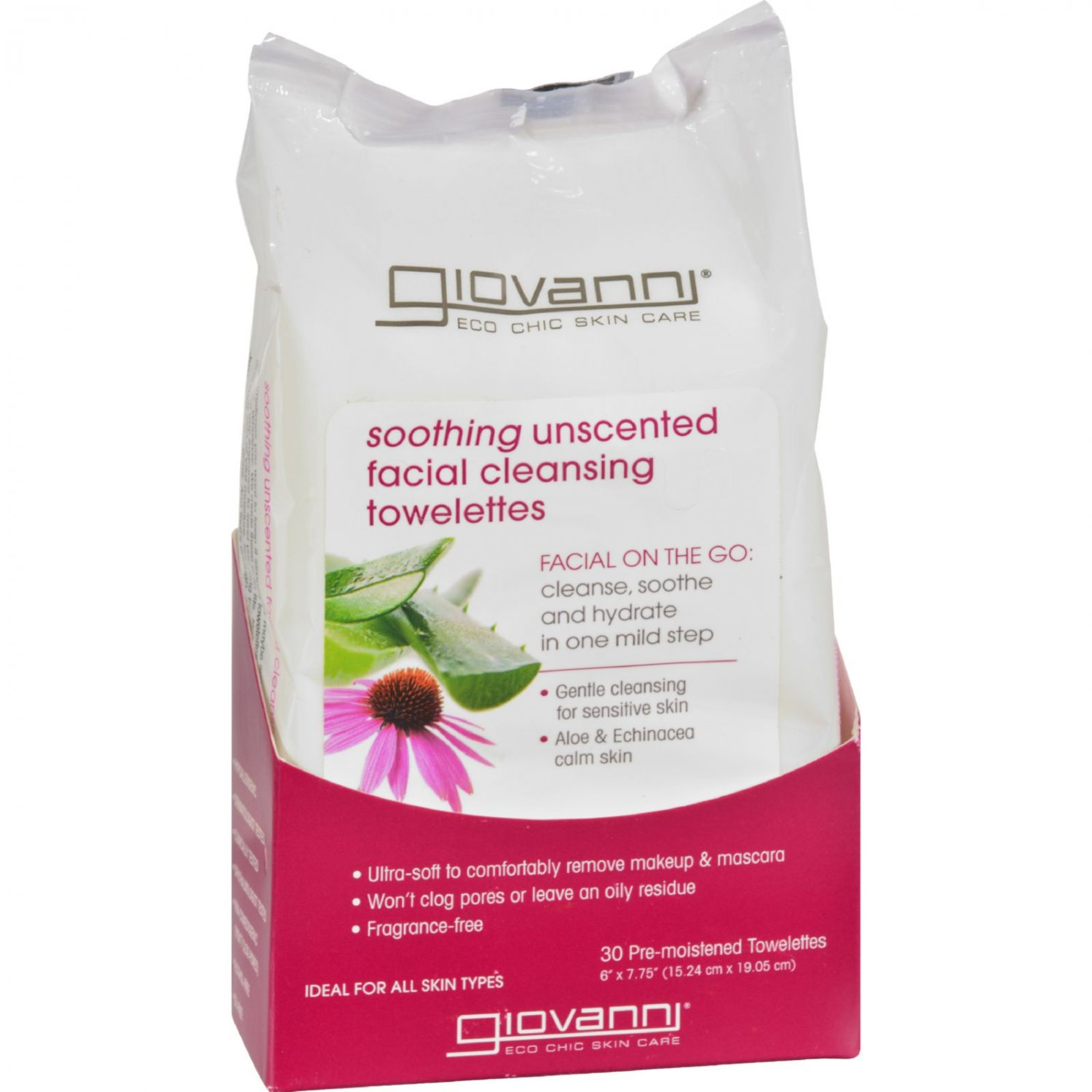 Giovanni Facial Cleansing Towelettes - Unscented - 30 Pre-moistened Towelettes
